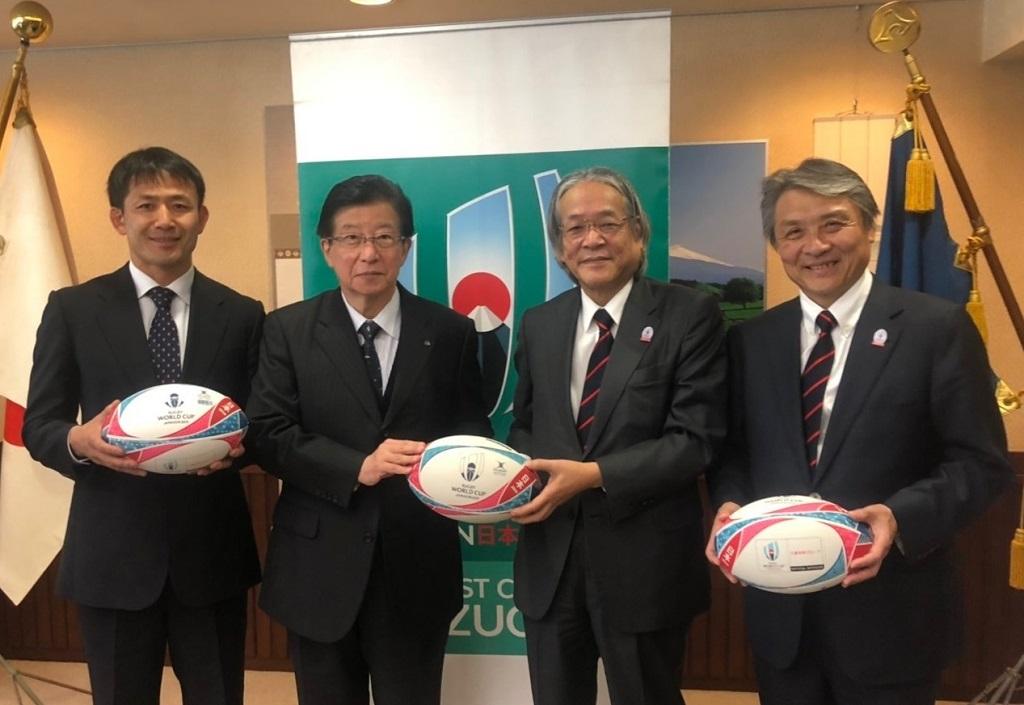 三菱地所が静岡県の小学校・中学校へラグビーボール500個を寄贈