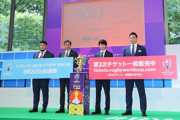 櫻井翔さんはスペシャルゲストとして、舘ひろしさんはPR(ピーアール)キャプテンとして登壇。二人ともラグビー経験あり! (撮影:松本かおり)