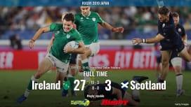 【ラグビーW杯ハイライト動画】アイルランド、強みを出し切りライバルに快勝
