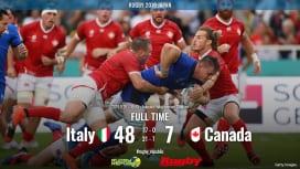 【ラグビーW杯 シーン動画】 イタリアがカナダに快勝、2試合連続でトライBP獲得!