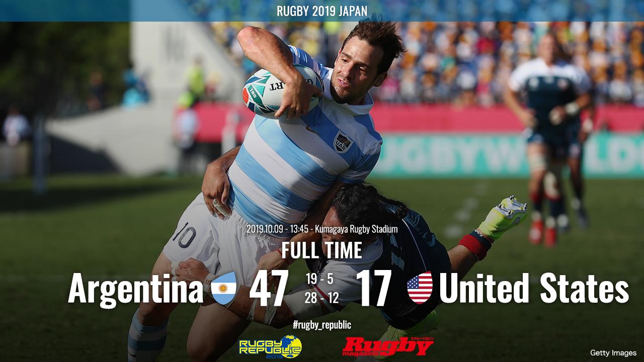【ラグビーW杯シーン動画】アルゼンチン、次大会出場権サバイバルでアメリカを降す