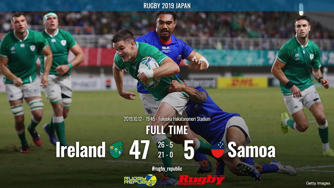 【ラグビーW杯 ハイライト動画】 アイルランド8強入り確定、日本と同組で暫定1位に。14人でもサモアを圧倒。