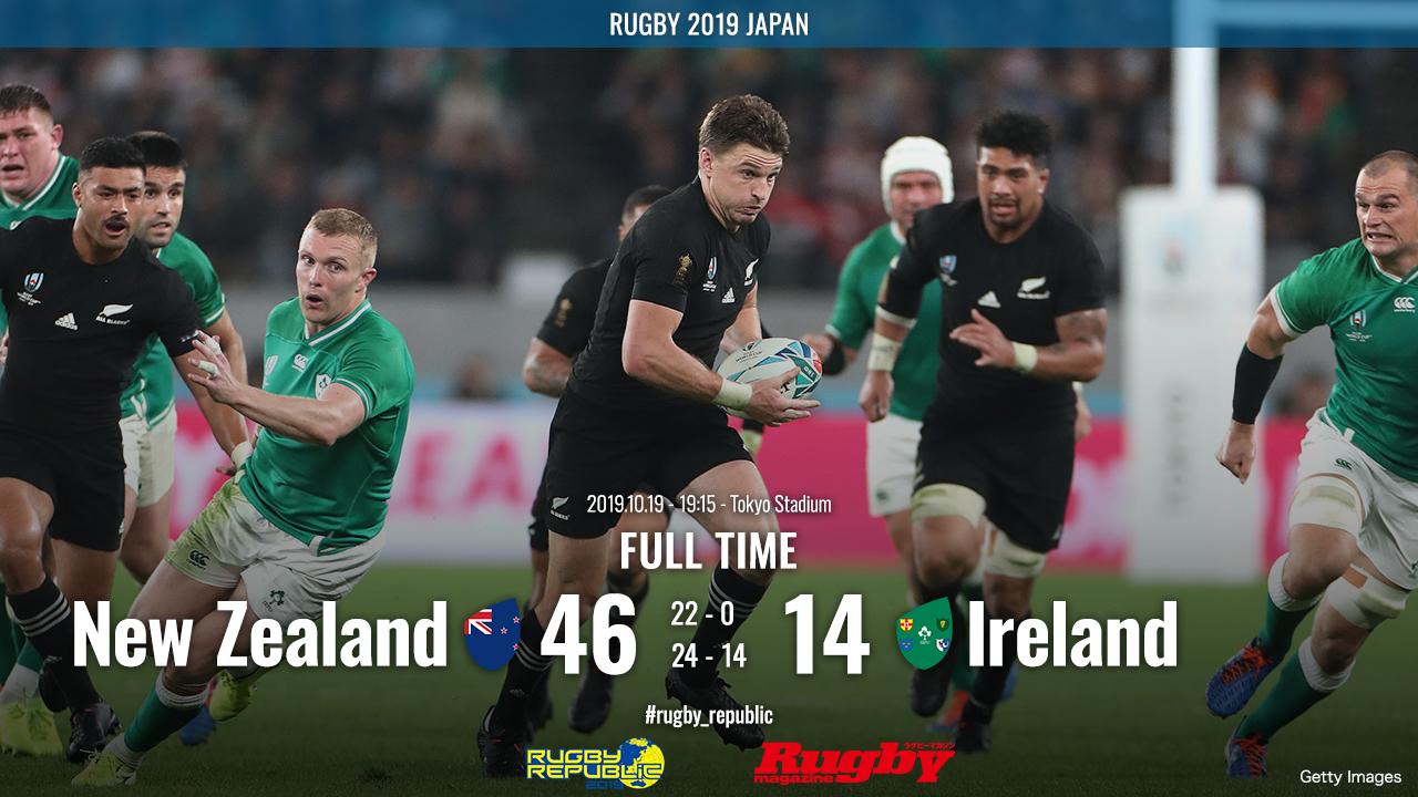 【ラグビーW杯ハイライト動画】王者オールブラックスが圧勝。アイルランドはまたしても4強逃す。