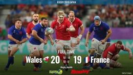 【ラグビーW杯ハイライト動画】 欧州王者ウェールズ終盤の逆転勝ちで4強! フランスは肘打ち退場響き敗退