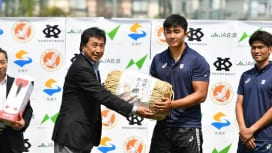 佐渡米で強く。慶大ラグビー部、シーズンキックオフイベント開催。