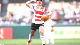 見事、ストライク! サクラフィフティーン齊藤聖奈主将、楽天戦で始球式。