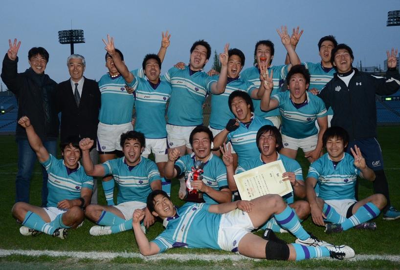 東日本大学セブンズで3連覇を果たした筑波大。決勝は流経大に逆転勝利(撮影:松本かおり)