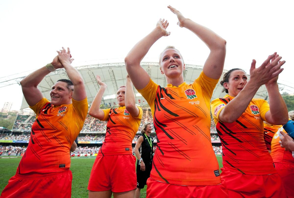 女子セブンズチャレンジカップ香港大会を制したイングランドのヒロインたち(写真提供:香港ラグビー協会)