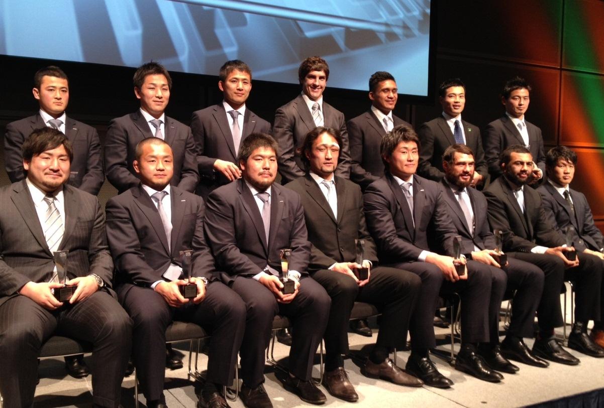 トップリーグ2012-13ベスト15。PR安江祥光、CTBマレ・サウは嬉しい初受賞(撮影:BBM)