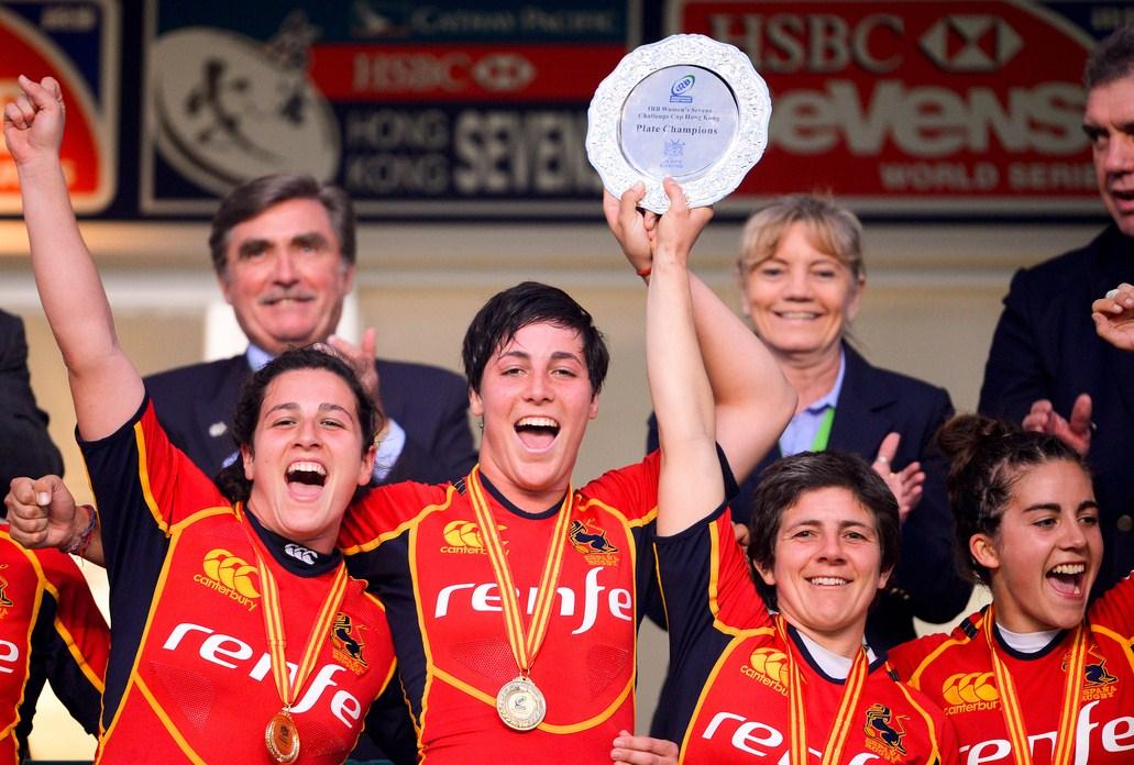 香港セブンズ女子の部で5位決定戦を制し、プレート獲得で喜ぶスペイン女子(写真提供:香港ラグビー協会)