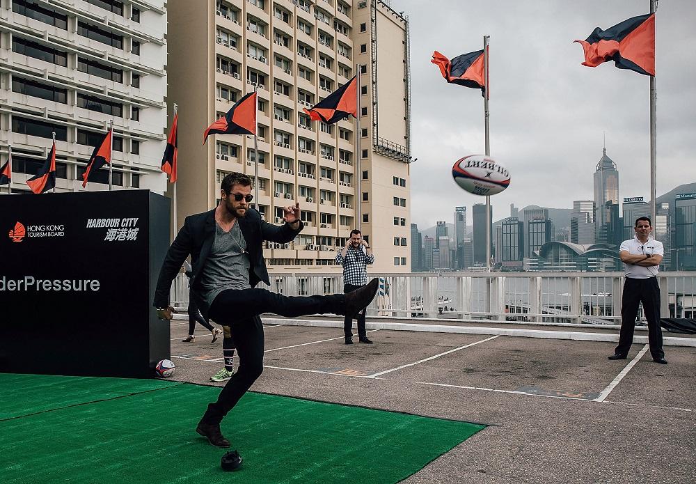 香港セブンズキックオフイベントに参加した世界的俳優クリス・ヘムズワース(C)Anthony Kwan