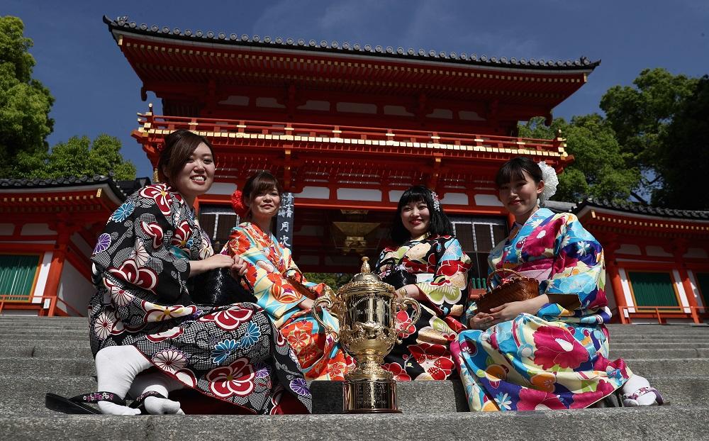 RWC2019組分け抽選会は5月10日に京都で開催。写真は八坂神社にて(C)World Rugby
