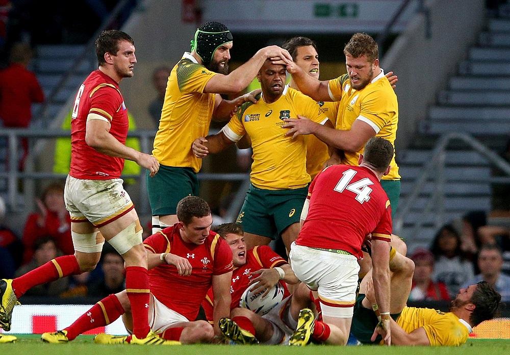 W杯プールAの首位決定戦。ウェールズの猛攻に耐えたオーストラリア(C)Getty Images