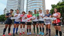 スリランカでW杯セブンズ2018アジア最終予選開催。女子代表の主将たち(C)Asia R…