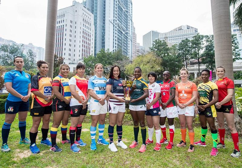 ワールドラグビー女子セブンズシリーズコアチーム予選大会に臨む12か国・地域の主将(C)HKRU