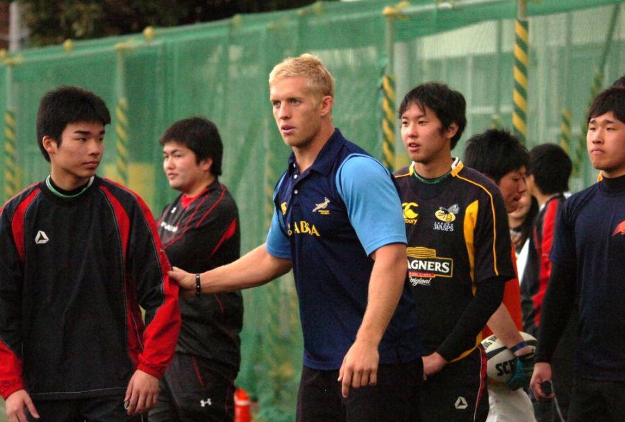 東京セブンズで来日、高校生たちにコーチングした7人制南ア代表カール・ブラウン主将(撮影:松本かおり)
