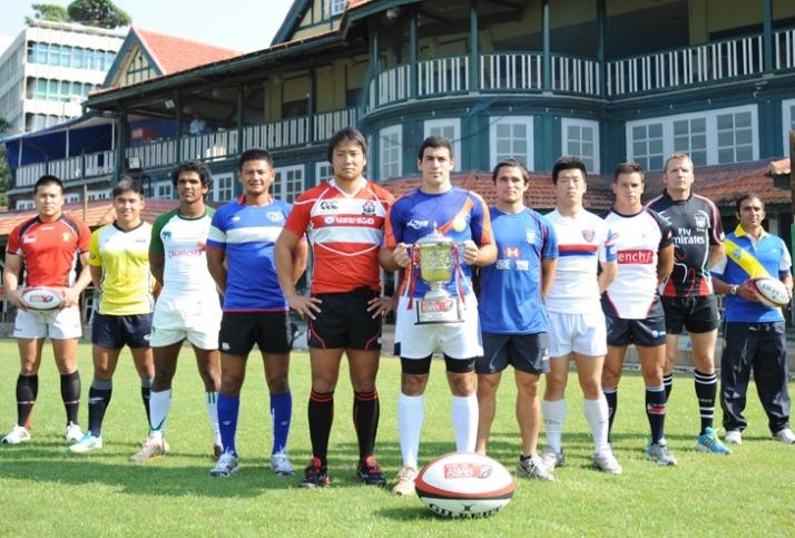 アジアセブンズシリーズ第3戦ムンバイ大会開幕。各国主将たち(写真:アジアラグビー協会)