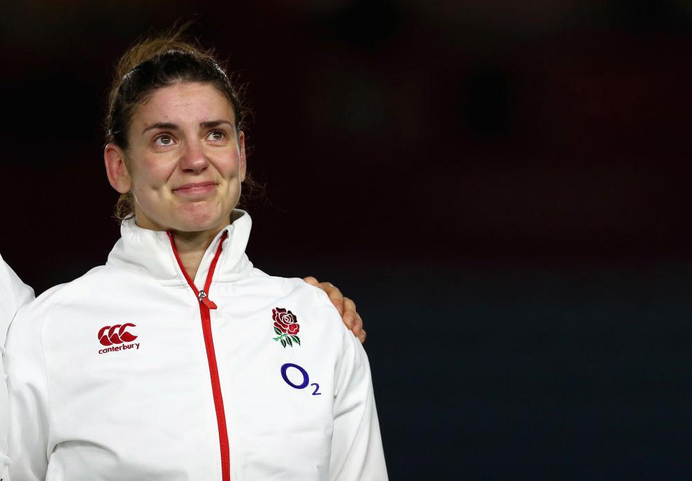 女子イングランド代表として100キャップ。感慨深げなサラ・ハンター主将(C)Getty Images