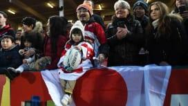 グロスターで日本代表を応援したファン。力をもらった選手はロシアに勝利(C)Getty I…