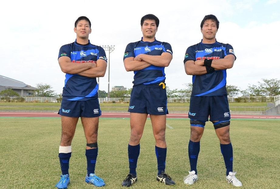 トップリーグ沖縄開催で奮闘した地元の星、サニックス濱里3兄弟。左から耕平、周作、祐介(撮影:BBM)