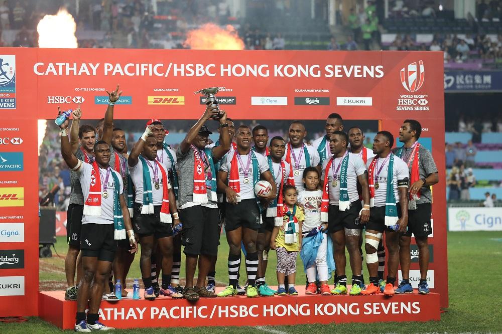 香港セブンズで3年連続17回目の優勝を遂げたフィジー(撮影:早浪章弘)