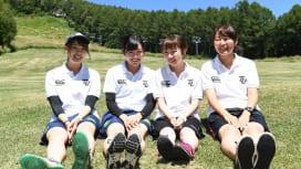 東北学院大のマネージャー。左から八柳さん、土田さん、中川さん、高橋さん(C)Hiroak…