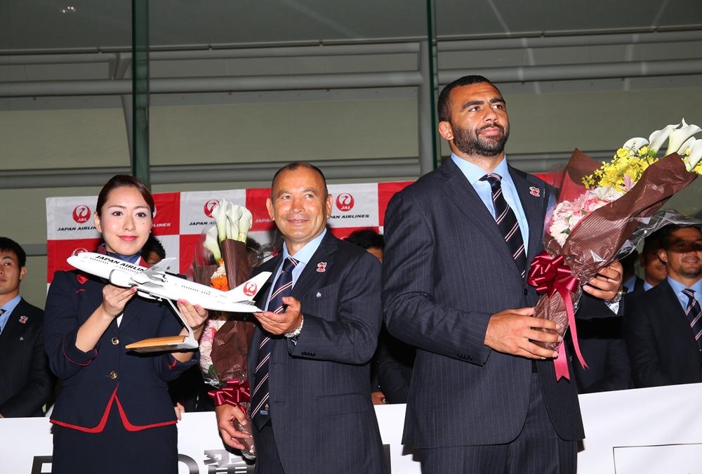 ラグビー日本代表、ワールドカップ開催地のイングランドへ出発(撮影:松本かおり)