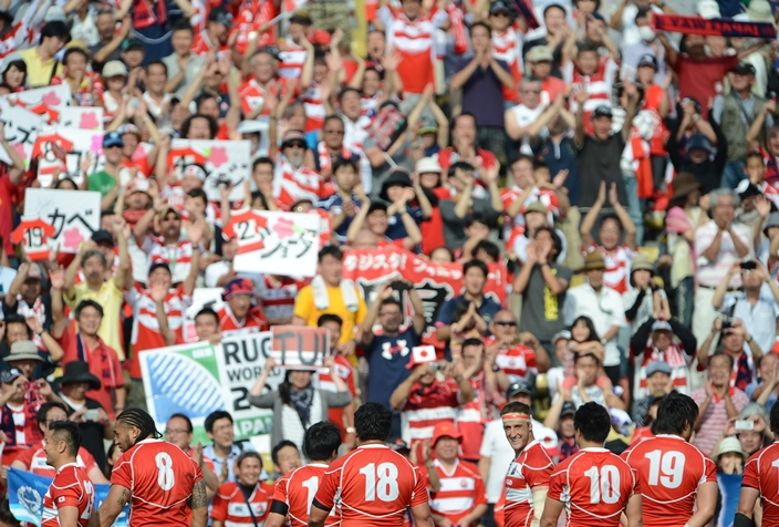 秩父宮ラグビー場で応援した約1万4000人が日本代表の歴史的勝利を喜んだ(撮影:松本かおり)