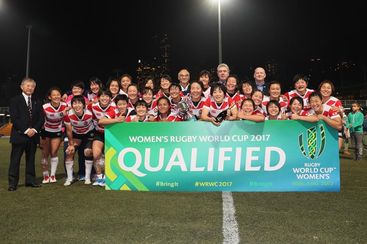 アジア・オセアニア予選1位で4大会ぶり4回目の女子W杯出場を決めた女子日本代表(撮影:出村謙知)