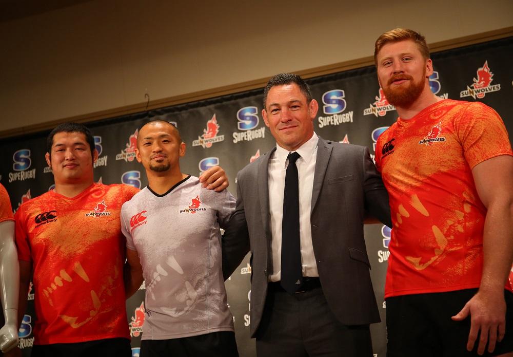 サンウルブズの発表会見に出席した垣永、矢富、ハメットHC、カーク(写真左から/撮影:松本かおり)