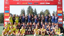 女子セブンズ・カナダ大会の3強(C)Mike Lee KLC fotos / World…