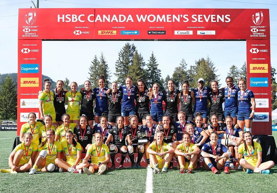 女子セブンズ・カナダ大会の3強(C)Mike Lee KLC fotos / World Rugby