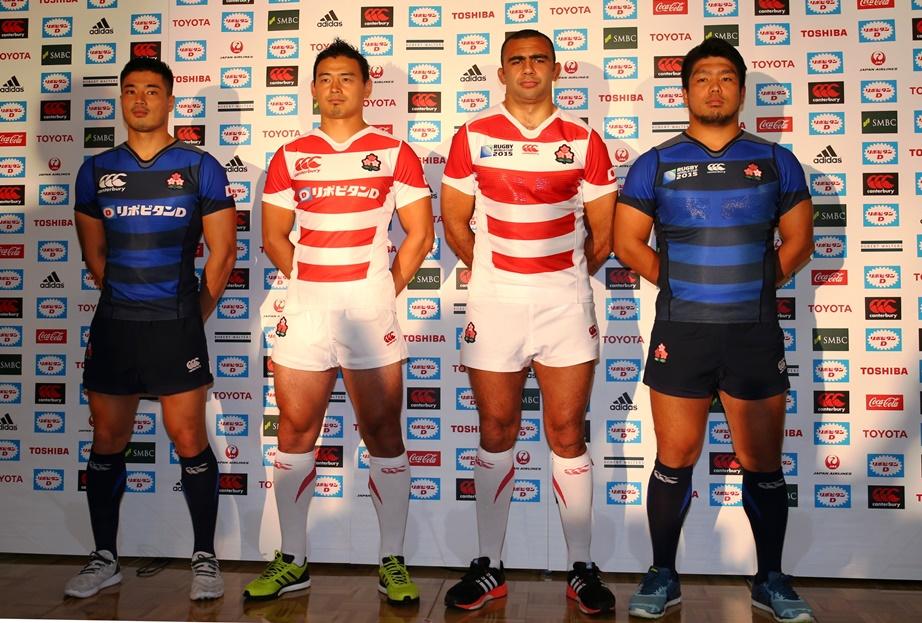 ラグビーワールドカップ2015で日本代表が着る新ジャージー発表。伝統を強調(撮影:松本かおり)