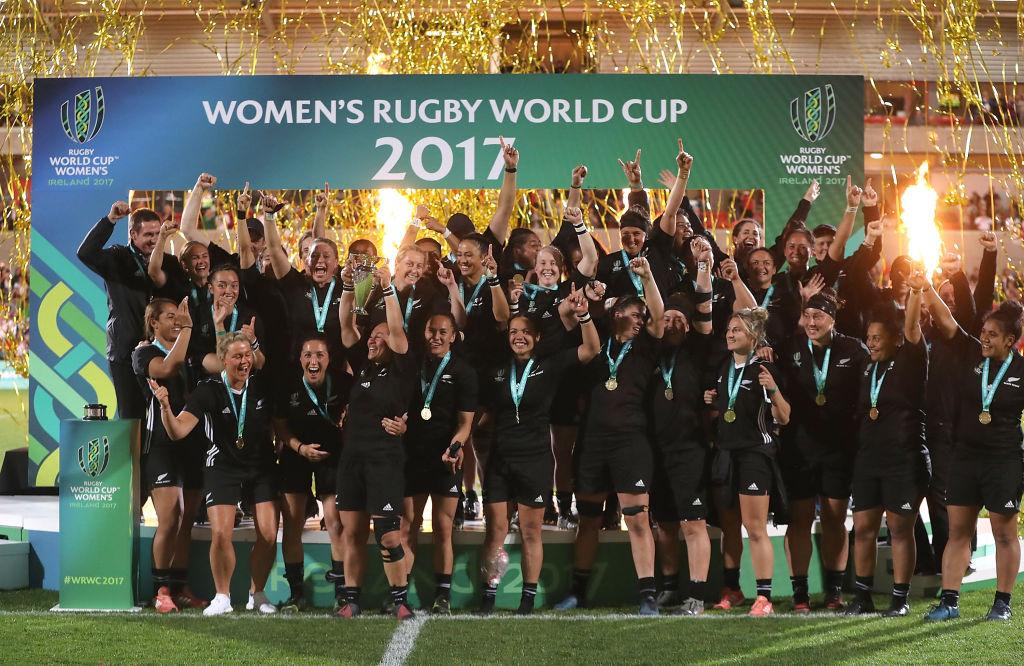2大会ぶり5回目のW杯優勝を遂げた女子NZ代表、ブラックファーンズ(C)Getty Images