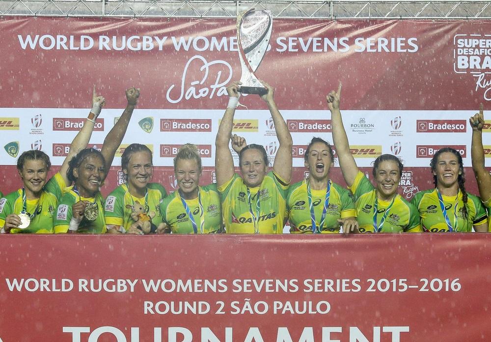 WSサンパウロ大会で優勝し、今季2冠目を獲得した女子7人制豪州代表(C)FotoJump