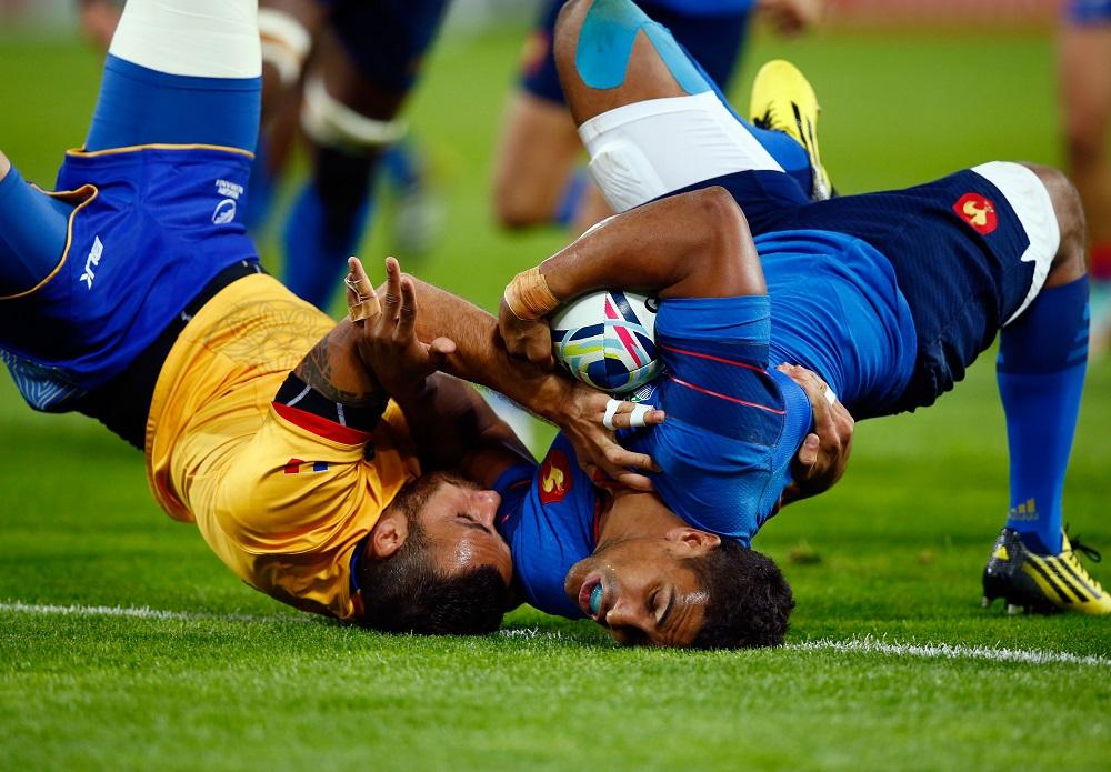 ルーマニアに苦戦したフランス(青)だが、2連勝で現在プールDの首位(C)Getty Images
