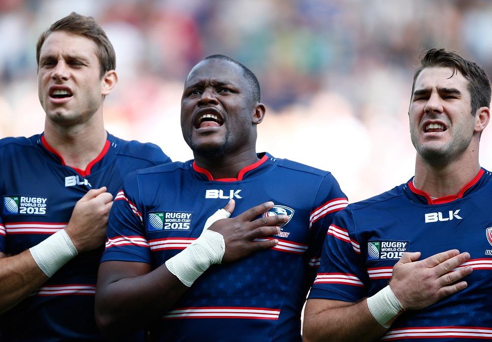 RWC2015初戦でアメリカ国歌を歌うングウェニア(中央/Photo: Getty Images)