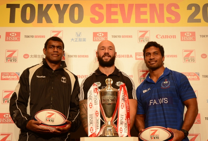 東京セブンズで優勝狙う世界3強。写真左からフィジー、NZ、サモアの主将たち(撮影:松本かおり)
