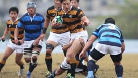 慶應義塾大は日本体育大を49−22で下し3連勝。写真はFB丹治辰碩(撮影:?塩隆)