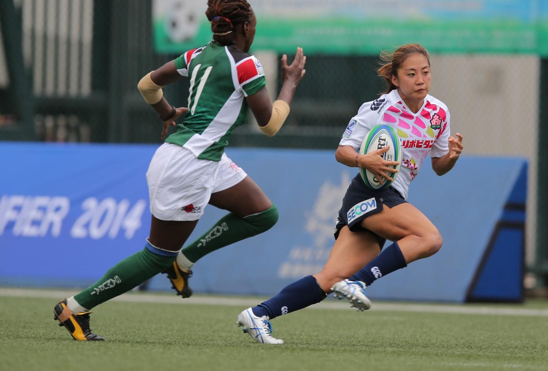 コア昇格へ。ケニア戦で2トライを挙げた女子セブンズ日本代表の山口真理恵(撮影:長岡洋幸)