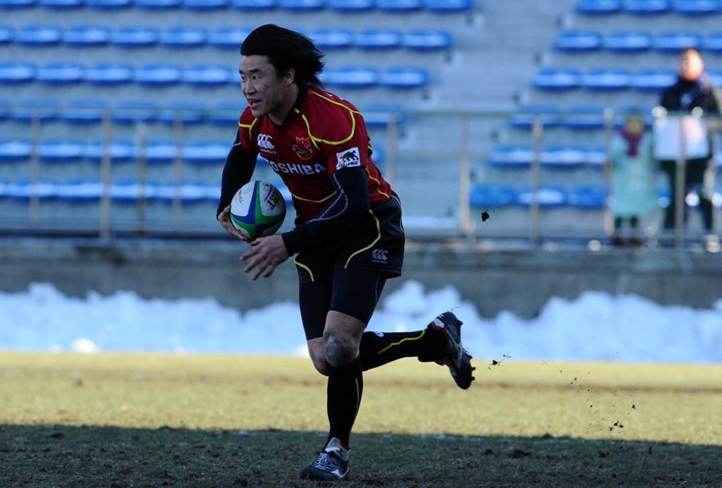 リコー戦でトップリーグ最年長トライ記録を更新した東芝の松田努(撮影:松本かおり)