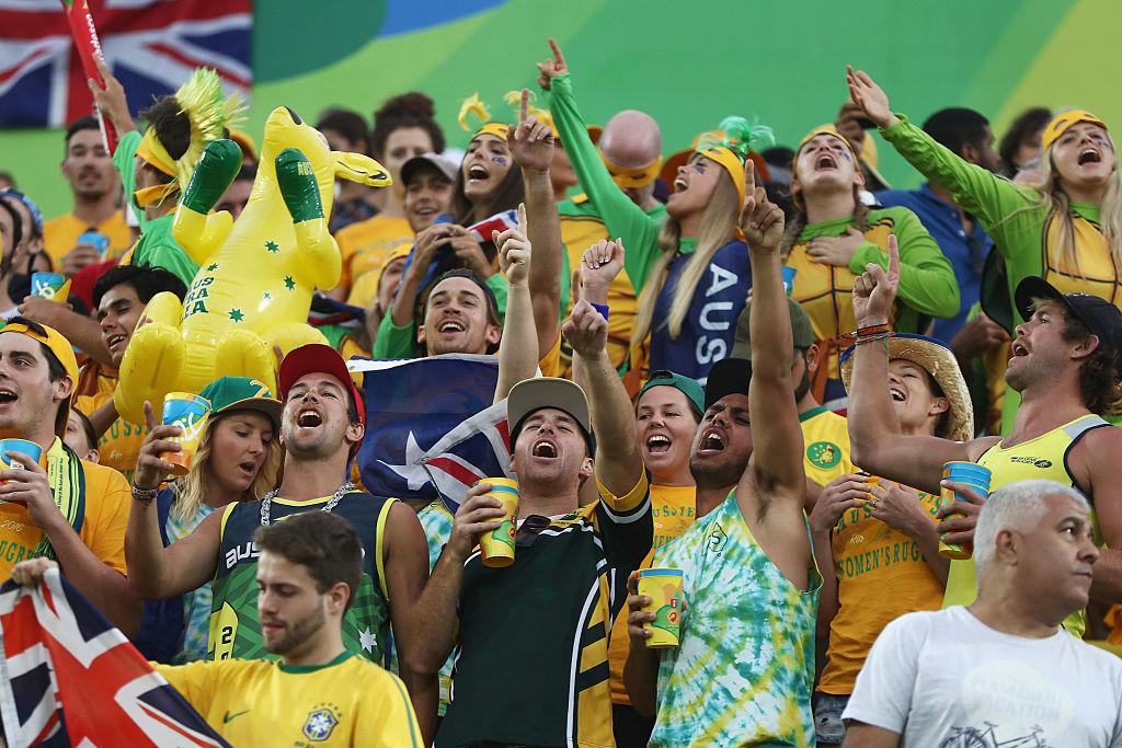 女子セブンズ準々決勝でオーストラリアが快勝し、盛り上がるファン(C)Getty Images