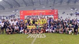 ワールドセブンズシリーズ最終パリ大会でメダルを獲得した男女全選手(C)Getty Ima…
