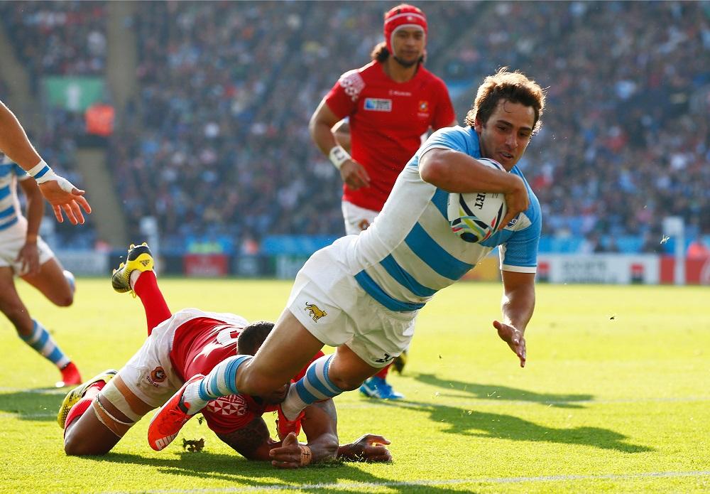 トンガ代表戦でトライを決めるアルゼンチン代表のニコラス・サンチェス(C)Getty Images