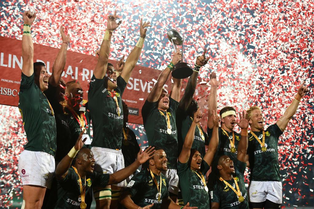 ワールドセブンズシリーズの今季第1戦・ドバイ大会で優勝した南アフリカ(C)Getty Images