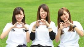 東北学院大のマネージャー。左から土田ひなのさん、八柳絢さん、熊谷日向子さん(撮影:H. …