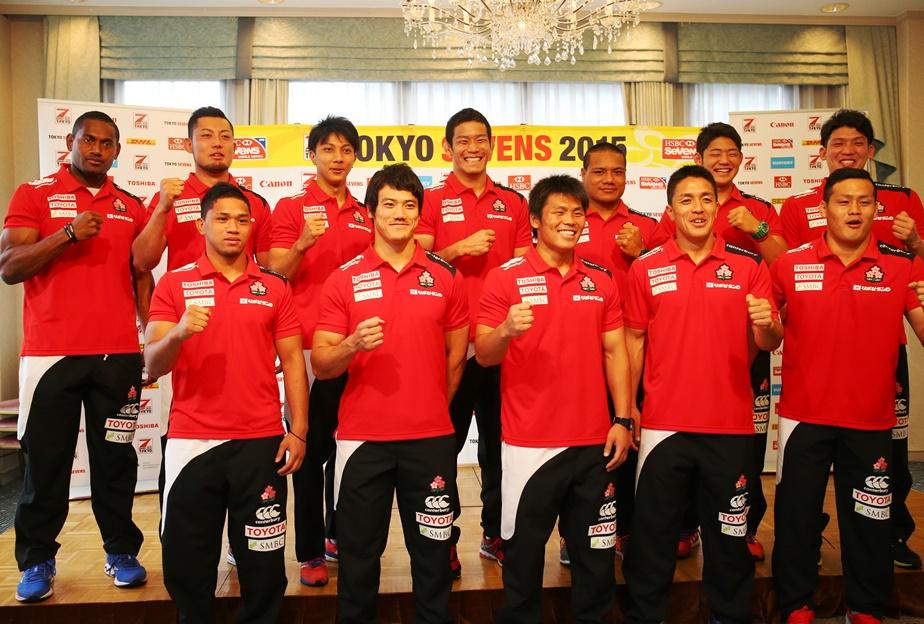 東京セブンズに臨む男子7人制日本代表。ホームでの最高パフォーマンスを誓った(撮影:松本かおり)