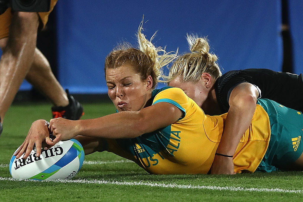 リオ五輪決勝で同点トライを決めたオーストラリアのエマ・トネガト(C)Getty Images