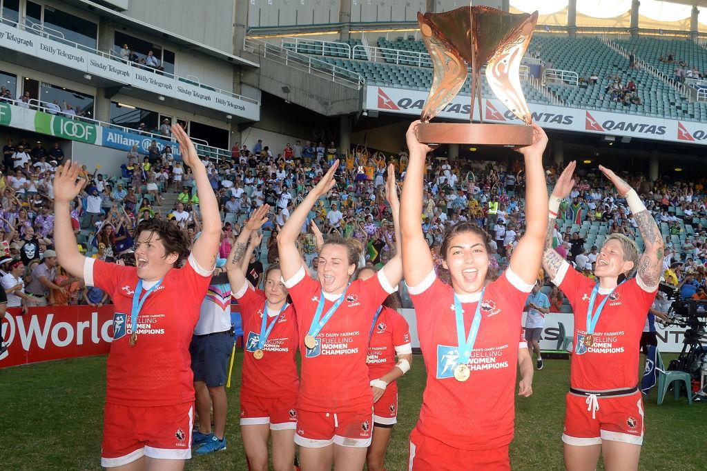 ワールド女子セブンズシリーズのシドニー大会で優勝し、歓喜するカナダ(C)Getty Images