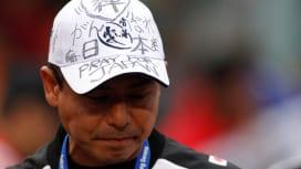 7人制日本代表村田監督の帽子に書かれた復興への祈り(撮影:長尾亜紀)